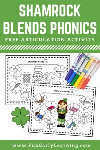 Fun Shamrock Phonics Activity for L Blends! Free printable for learning phonics and articulation. Great for preschool, kindergarten, and speech therapy.
