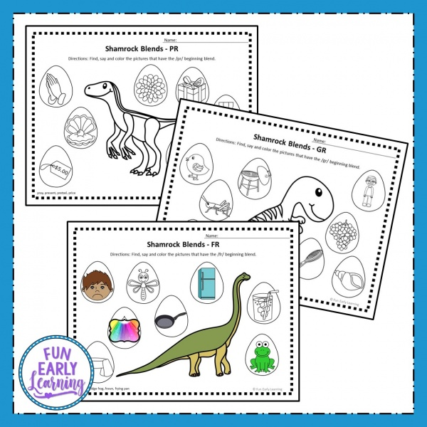 Dinosaur R Blends Articulation Speech Activity. Fun articulation activity for working on beginning blends in preschool and kindergarten. #freeprintable #articulation #funearlylearning