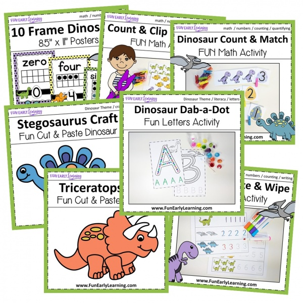 Dinosaur Theme Bundle! Fun literacy and math activities and no prep worksheets for preschool and kindergarten. Everything you need in one fun bundle! #dinosaurtheme #funearlylearning