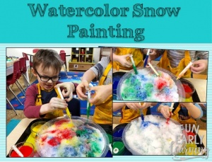 Watercolor Snow Painting! Fun and easy art project and sensory bin for kids. Learn how easy it is to make this kids craft! Great activity for preschool and kindergarten. #kidscraft #sensorybin #funearlylearning