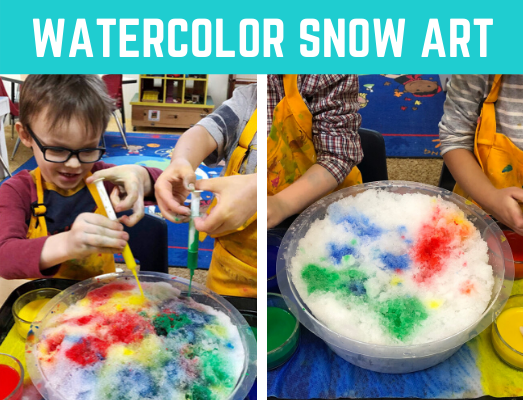 Watercolor Snow Painting kid's art project! Fun and easy kid's craft for winter. Great sensory activity for preschool and kindergarten. #kidscraft #sensory #funearlylearning