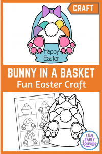Fun Easter Craft for Kids! Cute Bunny Bottom in a Basket Easter art project for children to make at home or in the classroom. 3 Different Versions included for your needs!