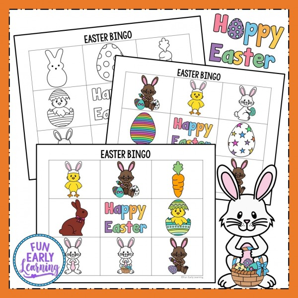 Free Easter Bingo! Fun Easter Activities for Kids in the classroom, at home, or at church. Perfect party games for preschool, kindergarten, and elementary school.