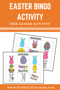 Fun Easter Bingo Activity for Kids! Fun and free printable for preschool and kindergarten! #Easter #freedownload #funearlylearning