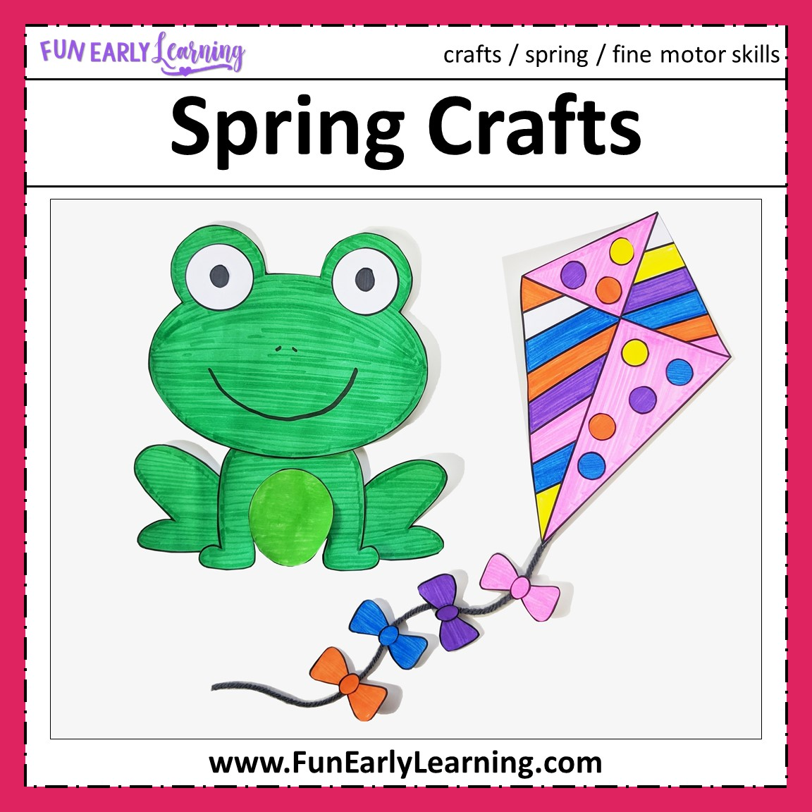 photograph relating to Printable Kid Crafts identify Spring Crafts - Flower Pot, Frog, Kite, and Umbrella with