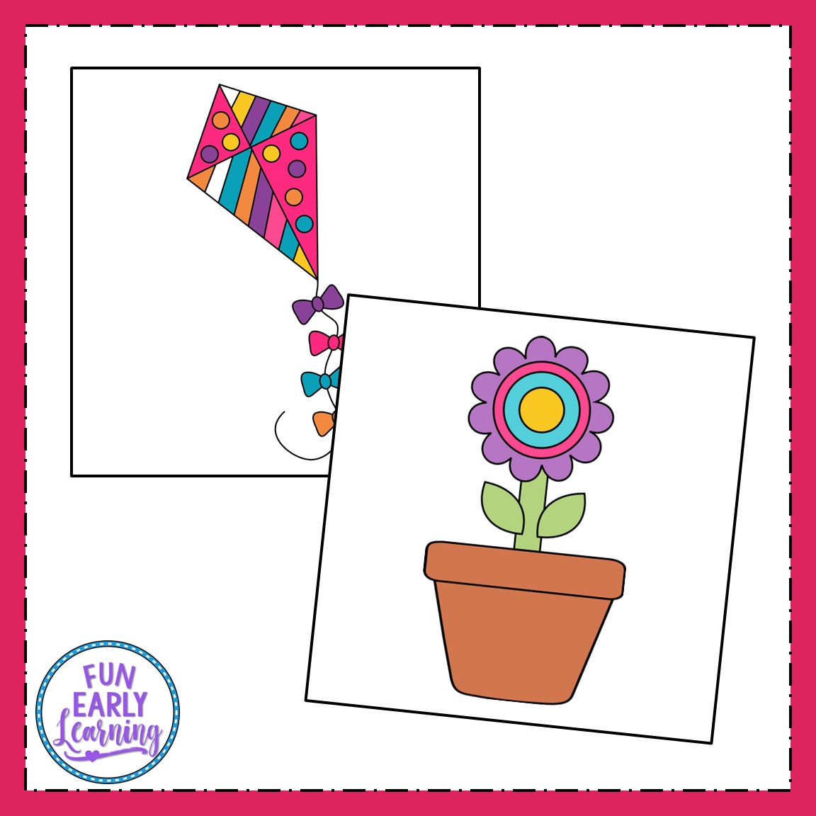 image about Printable Kid Crafts named Spring Crafts - Flower Pot, Frog, Kite, and Umbrella with