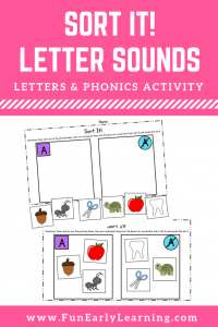 Fun Letter Sound Activities for Preschool, Kindergarten, and First Grade! Sort It Letter Sound Correspondence Activity for Phonemic Awareness / Beginning Phonics. #phonics #funearlylearning