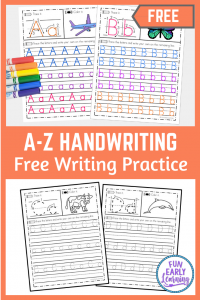 A-Z Handwriting Practice Free Printables. Fun preschool writing activities for at home and in school. Great early literacy and handwriting practice letter tracing for preschool, prek, and kindergarten.