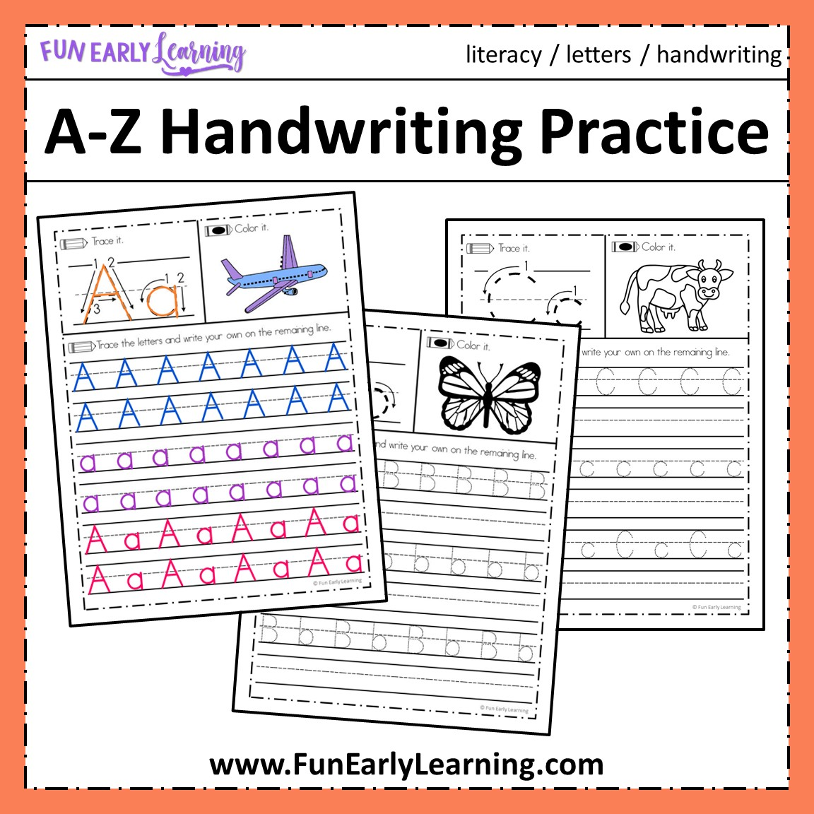 a z handwriting practice no prep worksheets for learning letters. Black Bedroom Furniture Sets. Home Design Ideas