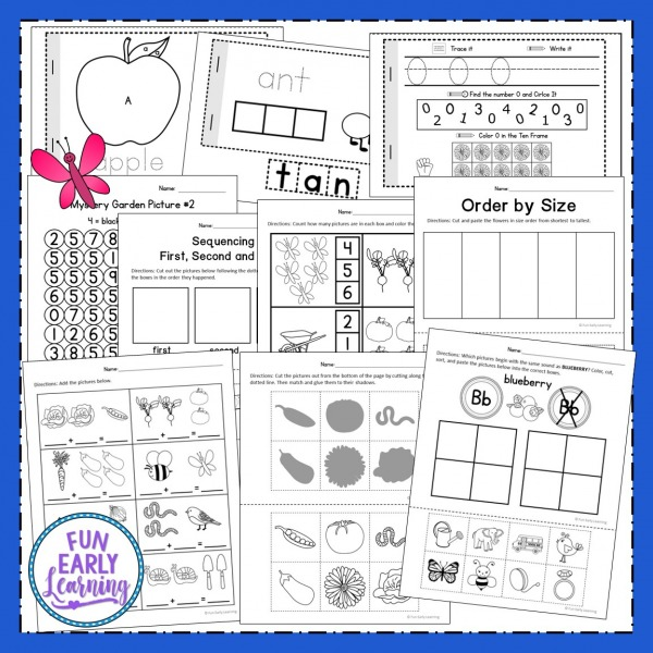 Fun In the Garden Theme for Preschool, Kindergarten, and Kids! Great learning activities, literacy centers, math centers, science experiments, and crafts for the garden theme.