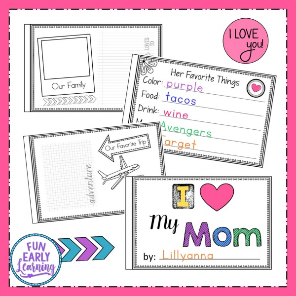 Fun Mother's Day Craft for kids! All About Mom book. Includes versions for Mum, Aunt, Grandma, Sister and blank. #mothersday #kidscraft #funearlylearning