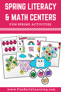 Fun spring literacy and math centers for kids! These activities are perfect for preschool and kindergarten students learning fine motor activities, counting games, phonics, alphabet activities and more!