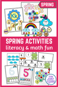Fun spring activities for preschool, PreK and Kindergarten! Great math and literacy centers for students learning fine motor skills, letters, phonics, counting and more!