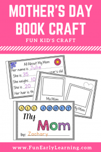Fun Mother's Day Craft for kids! All About Mom book. Includes versions for Mum, Aunt, Grandma, Sister and editable book to choose any name.