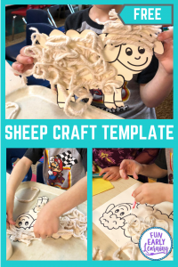 Fun Sheep Craft for Kids! Great printable template for toddlers, preschool and kindergarten! #sheepcraft #freeprintable #funearlylearning