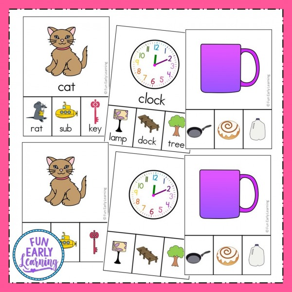 Rhyming Clip Cards Literacy Activity. Fun rhyming activities for preschool and kindergarten. Great printables to learn rhymes and phonological awareness at home or in school for table time, circle time, or small groups.