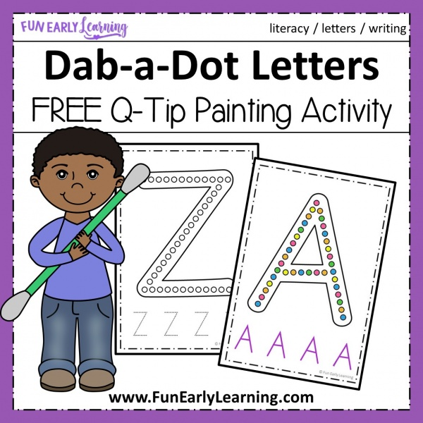 Dab-a-Dot Letters Q-Tip Painting! Fun free printable / alphabet activities for preschool, prek, and kindergarten! #alphabet #freeprintable #funearlylearning