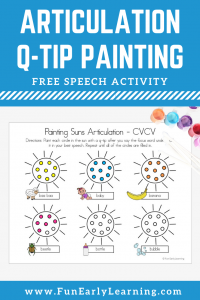 Summer Articulation Q-Tip Painting Speech Activity. Fun free printable for learning articulation, speech, and phonics. Perfect for preschool and kindergarten at home or in school.