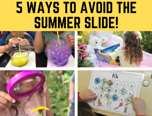 5 Ways to Avoid the Summer Slide for Preschool, Kindergarten, and Early Childhood. Fun activities and printables included! #summerslide #preschoolactivities #kindergartenactivities #funearlylearning