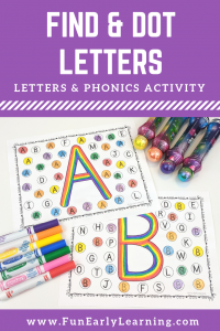 Fun Alphabet Activities for preschool and kindergarten! Find and Dot Matching Letters is a free printable for learning letter recognition. #freeprintable #alphabetactivities #funearlylearning