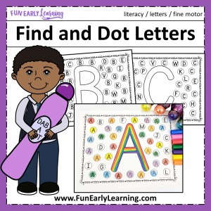 Find and Dot Matching Letters Free Printable! Fun no prep literacy activity for learning letter recognition, letter identification and matching. Perfect for preschool, kindergarten, RTI and early childhood.