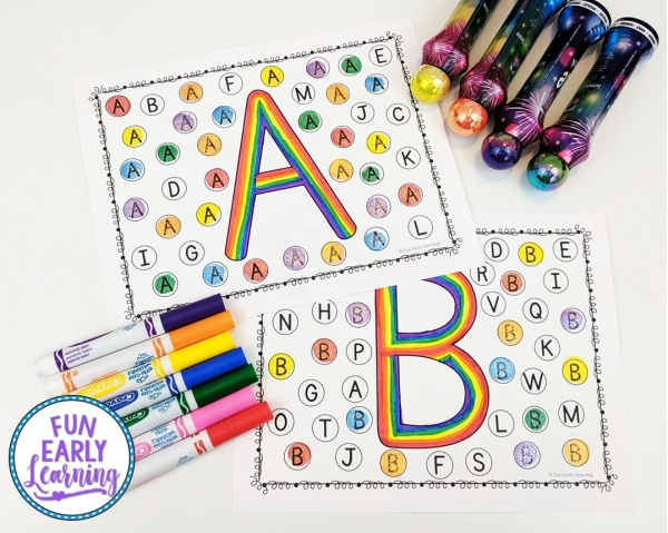 Find and Dot Matching Letters free printable! Fun letter identification activities and alphabet activities for preschool, kindergarten, schools, small groups, and at home. #alphabetactivity #funearlylearning