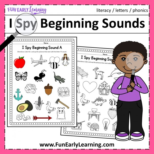 I Spy Beginning Sounds Phonics Activity. Fun free printable for prek, preschool, and kindergarten. It's a great way to work on initial sounds, phonics, and letter sound correspondence.
