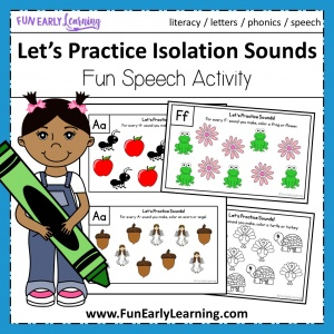 Let's Practice Isolation Sounds Free Printable Great for learning beginning sounds, phonemes and phonological awareness in preschool and kindergarten! #speech #freeprintable #funearlylearning