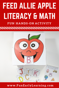 Fun apple theme activities for preschool, kindergarten and toddler! Feed Allie Apple letters, numbers, shapes and sight words! #appletheme #literacycenter #mathcenter #funearlylearning