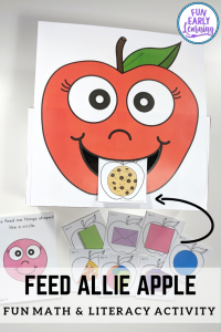 Speech Therapy Activities for toddlers, preschool, kindergarten and elementary! Feed Allie Apple is a fun game for working on articulation and language. #speechtherapy #finemotor #funearlylearning