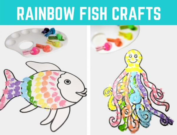 Rainbow Fish Book Crafts for Kids. Great book companion activity and easy craft for preschool and kindergarten. DIY this free printable at home for distance learning or in the classroom.
