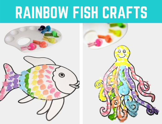 Rainbow Fish Book Crafts for Kids. Great book companion activity and easy craft for preschool and kindergarten. #rainbowfish #fishcraft #oceantheme #kidscraft #kidsactivity #freeprintable #freeactivity #preschoolcraft #kindergartencraft #earlychildhood