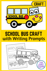 Cute Back to School Bus Craft! Perfect for kids, prechoolers, kindergarteners and elementary. Easy cute and paste craft with writing prompts. #backtoschool #writingactivity #funearlylearning