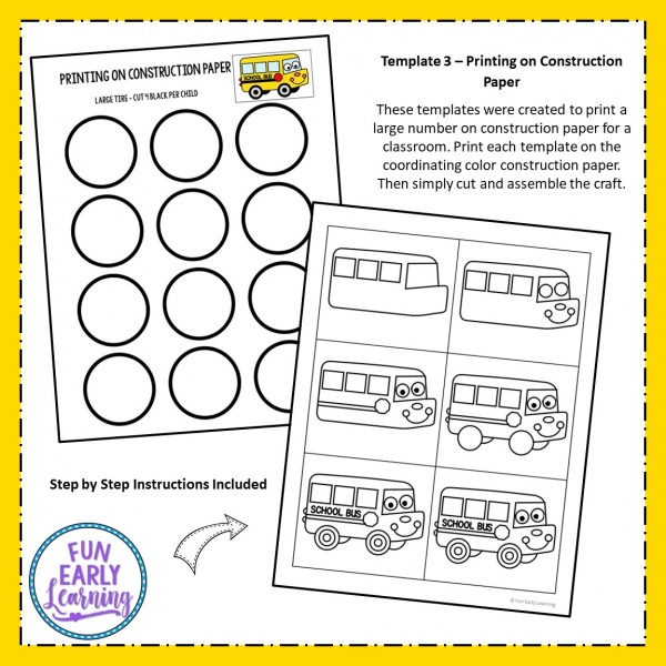 Cute Back to School Bus Craft! Perfect for kids, prechoolers, kindergarteners and elementary. Easy cut and paste craft with writing prompts. #backtoschool #writingactivity #funearlylearning