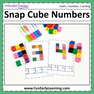 Snap Cube Numbers Learning Activity! Fun hands-on math activity for preschool and kindergarten! Color or black and white free printable worksheet included.
