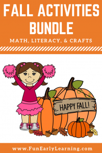 Fun Fall Activities for Kids! 12 Math, Literacy, and Craft Activities for Preschool, Kindergarten, and Elementary! #fallactivities #mathcenters #literacycenters #funearlylearning
