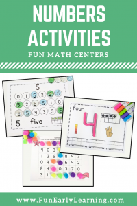 Learning Numbers Hands on Activities Binder! 6 fun activities for learning number identification, counting and writing! #mathcenters #preschoolmath #funearlylearning