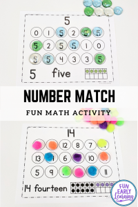 Fun math activities for preschool and kindergarten! Number Search ad Match activity for counting numbers and adding. #numbersactivity #mathcenter #funearlylearning
