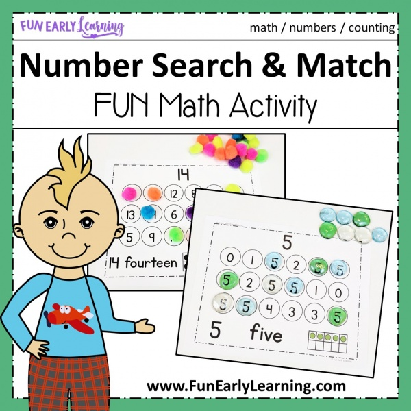 Number Search and Match fun math activities for preschool and kindergarten! Hands on printables for learning numbers, counting, and adding! Great for early education. #mathcenter #numberactivity #funearlylearning