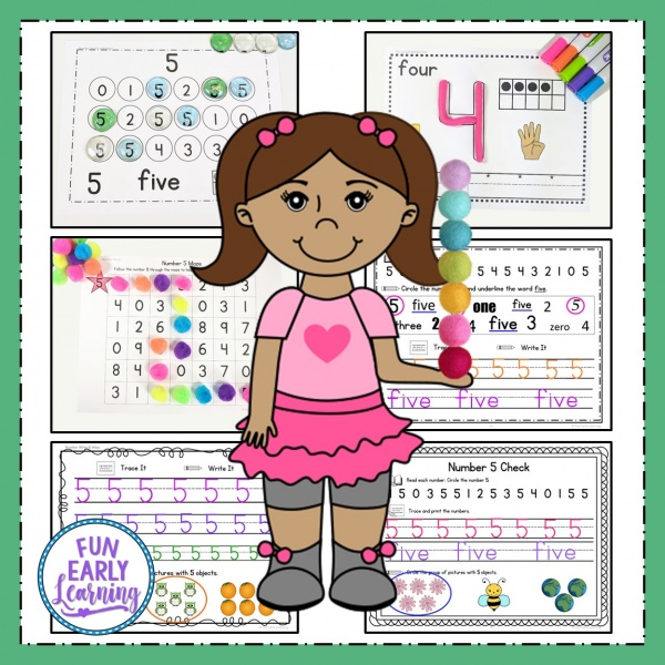6 Fun Math Activities for preschool and kindergarten! Learning Numbers Binder for numbers 0-20 for preschool and kindergarten. Great for in the classroom and at home printables and activities. #mathcenters #preschoolmath #kindergartenmath #funearlylearning