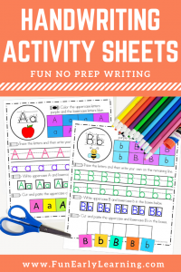 Fun Handwriting Activity Sheets for kids! Great handwriting activities for kindergarten, preschool, and kids. Teach the alphabet and fine motor skills!