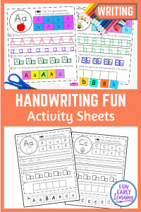 Fun Handwriting Activities for Kids! Our Handwriting Activity Sheets focus on pencil grip, letter identification, writing, and fine motor skills! Great of students in the classroom and at home.