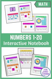 Fun math activities for preschool and kindergarten! Interactive Notebook Numbers 1-20 activities for counting numbers and adding. #numbersactivity #interactivenotebook #funearlylearning