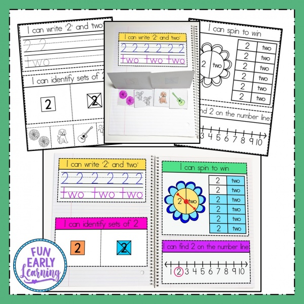 Interactive Notebook for Numbers Activity for Preschool and Kindergarten! Fun printables for kids! #mathcenter #numbersactivity #funearlylearning