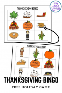 Fun and Easy Thanksgiving Activity for Kids! Thanksgiving Bingo Game free printable for preschool and kindergarten. Use in the classroom, schools or at home! #thanksgiving #freeprintable #funearlylearning