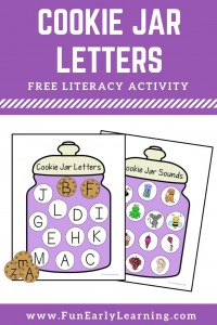 Fun Cookie Jar Letters & Sounds Activity for Preschool and Kindergarten! Free Alphabet Printable for learning letters and phonics. #alphabetactivity #literacycenter #funearlylearning