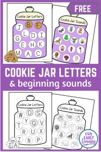 Free Cookie Jar Letters & Sounds Printable! Hands on activity for preschool and kindergarten learning alphabet and phonics. #alphabetactivity #phonics #funearlylearning