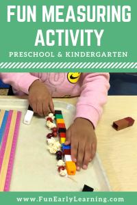 Fun measurement activity for preschool and kindergarten! Learn counting, measuring, and fine motor skills while strining popcorn and cranberries! #measurement #mathcenter #funearlylearning