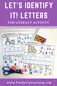 Let's Identify It Letters! Fun Alphabet and Literacy Activity. Learn letters and handwriting with this fun literacy center activity. Great for preschool and kindergarten! #letteractivity #alphabetactivity #funearlylearning