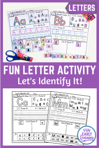 Fun Let's Identify It Letter Recognition Activity! Great alphabet activities for preschool, pre K, and kindergarten. Perfect for small groups, morning work and back to school! #letteractivities #funearlylearning